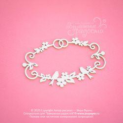 Чипборд.Свадебная рамочка с обручальными кольцами