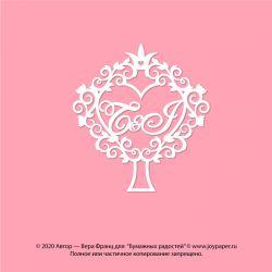 Чипборд. Инициалы - семейное дерево - T&J