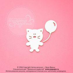 Чипборд. Котик с воздушным шариком