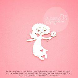 Чипборд. Ангелочек с цветочком