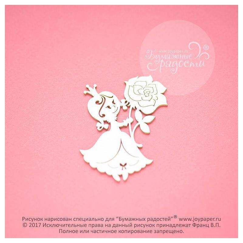 Чипборд. Принцесса с розой