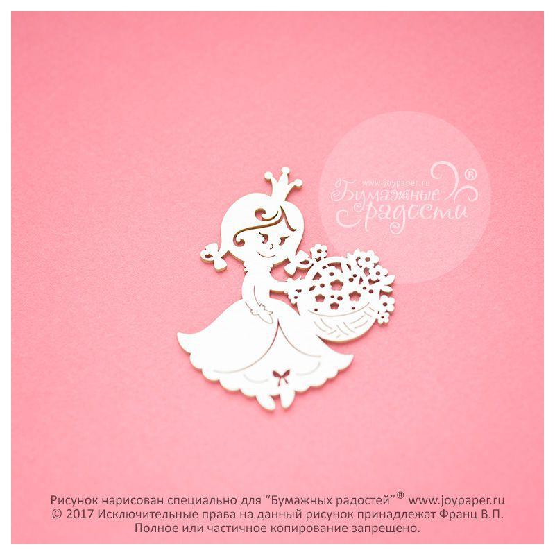 Чипборд. Принцесса с корзинкой цветов
