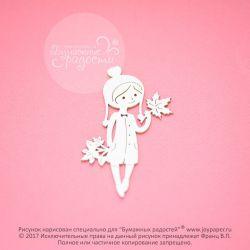 Чипборд. Девочка с осенними листьями