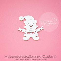 Чипборд. Санта Клаус с флажками