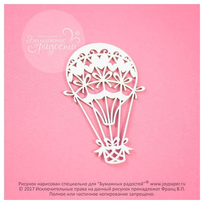 Чипборд. Воздушный шар с сердечками